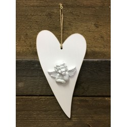 WOODEN HEART WITH ANGEL