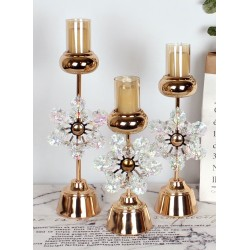 GLASS+METAL CANDLE HOLDER 14X14X30
