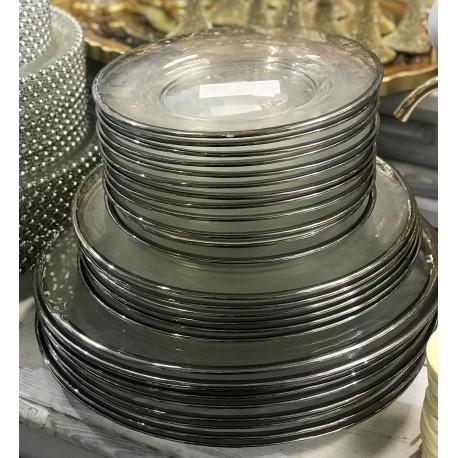 GLASS PLATE 21 cm SREBRNY