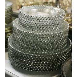 GLASS PLATE 33 cm SREBRNY